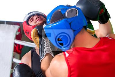 Bild Zwei Männer Boxer tragen Helm und Handschuhe Boxen im Training. Aggressive Boxer.
