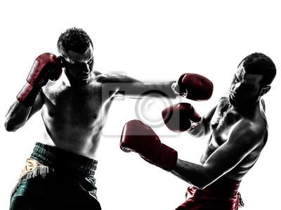 Bild zwei Männern, die Ausübung Thaiboxen Silhouette