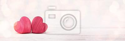 Bild Zwei Rote Hölzerne Herzen