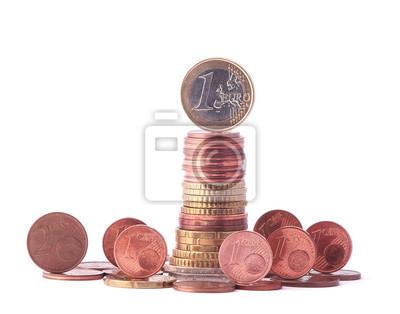 1 Euro Münze Steht Oben Auf Stapel Von Euro Münzen Umgeben Von