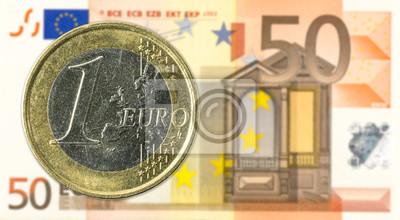 1 Euro Münzen Gegen 50 Euro Banknoten Vorderseite Fototapete