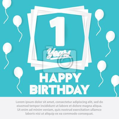 1 Geburtstagsfeier Grusskarte Papier Kunst Stil Design Geburtstag