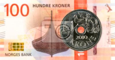 1 Norwegische Münze Gegen Neue 100 Norwegische Krone Banknote