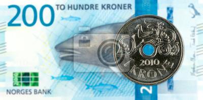 1 Norwegische Münze Gegen Neue 200 Norwegische Krone Banknote