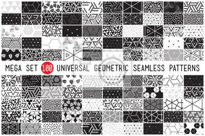 Fototapete 100 Universal verschiedene geometrische nahtlose Muster