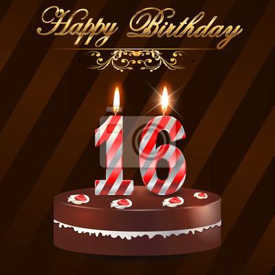 16 Jahre Alles Gute Zum Geburtstag Mit Kuchen Und Kerzen Fototapete