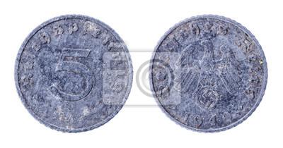 1940 5 Reichs Pfennig Deutschland Nazi Münze Hakenkreuz