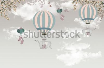 Fototapete 2 Elefant mit Balonbaum auf Himmel Tapete 3d