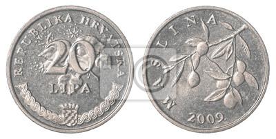 20 Kroatische Lipa Münze Isoliert Auf Weißem Hintergrund Set