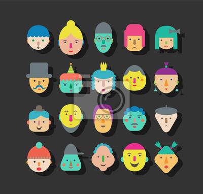 20 verschiedene lustige Gesichter. Vektor-Schaltflächen.
