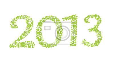 2013 Jahre Ökologie Zeichen mit Symbolen