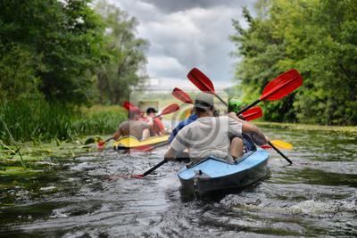 Fototapete 2014 Ukraine river Sula river rafting kayaking editorial photo