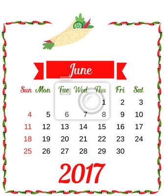 2017 kalender. schablone des monatskalenders für juni mit heißer ...