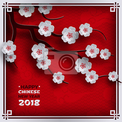 2018 chinese new year poster, red background with traditional ...