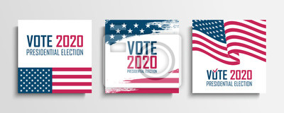 Fototapete 2020 United States Presidential Election set. USA Elections Vote cards collection. Vector Illustration.