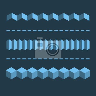 3-D Horizontal-Lineartrenner, Ränder. Flache Design-Elemente.