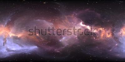 Fototapete 360-Grad-Weltraumnebelpanorama, gleichwinklige Projektion, Umgebungskarte. HDRI sphärisches Panorama. Raumhintergrund mit Nebelfleck und Sternen. Abbildung 3d