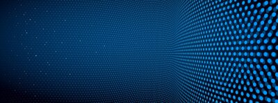 Fototapete 3D abstract dark blue background with dots pattern vector design, technology theme, dimensional dotted flow in perspective, big data, nanotechnology.