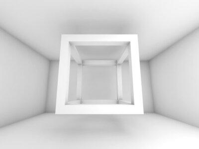 Fototapete 3d background illustration, fliegen leere Strahl cube