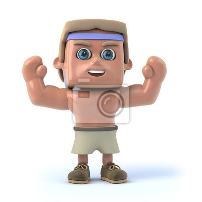 Fototapete 3d Bodybuilder hebt die Arme in cheer