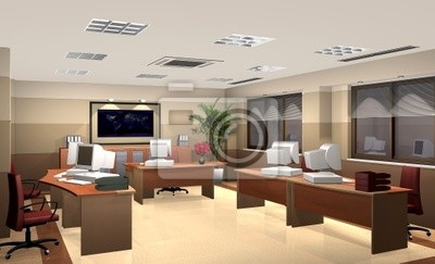 3d-büro-interieur fototapete • fototapeten Schreibtisch, Stuhl ...