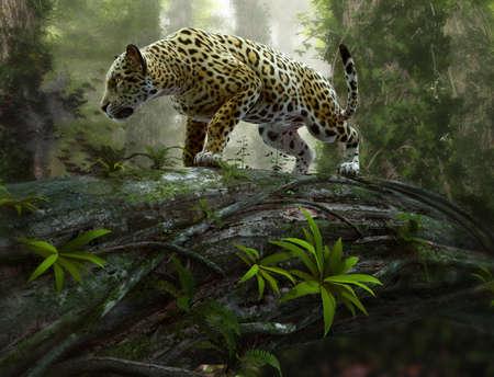 Fototapete 3d CG graphics of a jaguar on the prowl