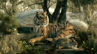 Fototapete 3D-Computer-Grafiken einer Tiger-Mutter mit zwei Babys