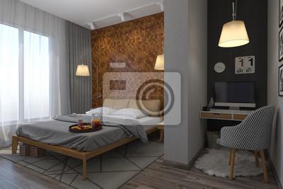 3d-darstellung der schlafzimmer im skandinavischen stil fototapete ...