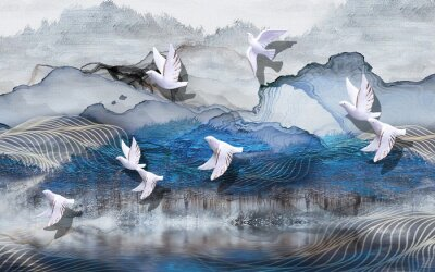 Fototapete 3d illustration, abstract grunge background, gray and blue waves, smoke, white gilded ceramic birds