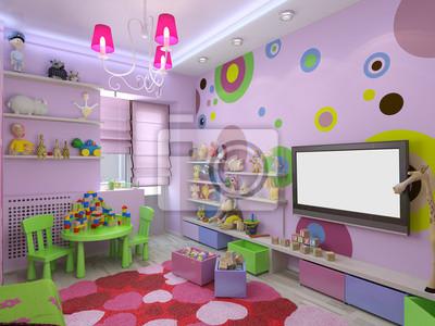 3d Illustration Kinderzimmer Fur Madchen In Rosa Farben Fototapete