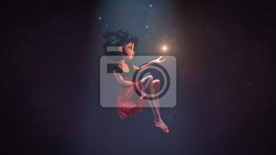 Fototapete 3d illustration of an asian girl sitting in the air in deep space with stars. Young cartoon woman floating in the air. Girl in the dark extends hand to the shining star. Space art. Deep dream concept.
