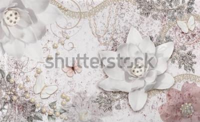 Fototapete 3d illustration of flower background-3d wallpaper