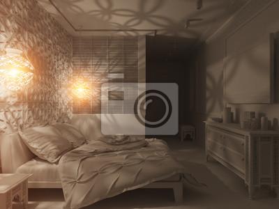 Fototapete 3d Illustration Schlafzimmer Innenarchitektur Eines Hotelzimmers  In Einem Traditionellen Islamischen Stil. Deluxe Zimmer Hintergrund