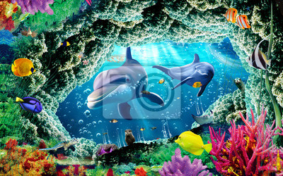 Fototapete 3d illustration  wallpaper under sea dolphin, Fish, Tortoise, Coral reefsand water with broken wall bricks background. will visually expand the space in a small room, bring more light and become an ac