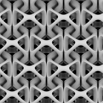 Fototapete 3d illustration, weiß matt abstrakte kette auf einem schwarzen hintergrund