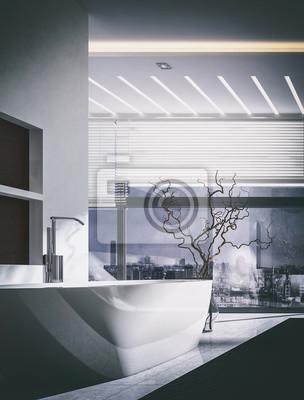 3d-interieur des badezimmers mit fenstervorhängen fototapete ...
