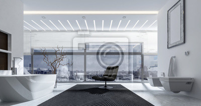 3d-interieur des badezimmers mit stuhl fototapete • fototapeten ...