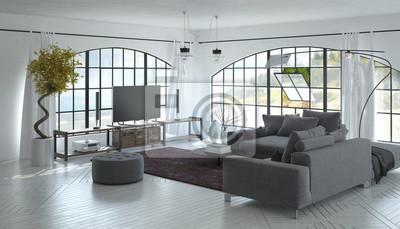 3d-interieur des wohnzimmers mit fernseher fototapete • fototapeten ...