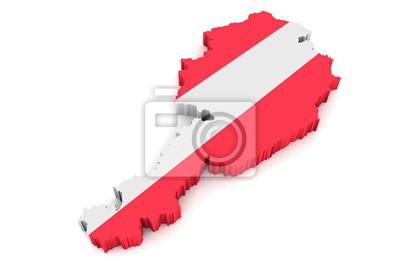3d Karte Osterreich.Fototapete 3d Karte Von Osterreich Mit Flagge Vor Weissem Hintergrund