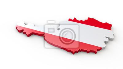 3d Karte Osterreich.Fototapete 3d Luftbild Osterreich 3d Karte Oder Umriss Mit Flagge