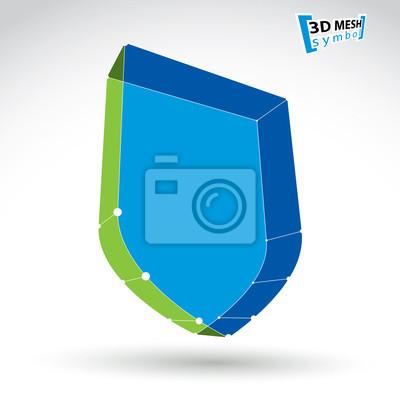 Fototapete 3D-Mesh-Web-blaue Sicherheitssymbol isoliert auf weißem Hintergrund, col