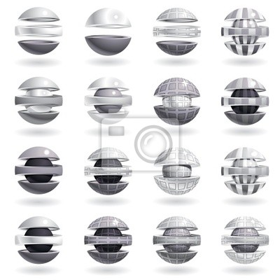 Fototapete 3d metallischen Kugel Symbole.
