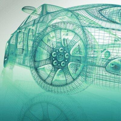 3d-modell autos fototapete • fototapeten technische, Mesh, digital ...