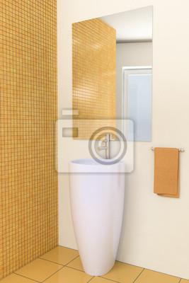 3d modernes badezimmer mit braunen fliesen an der wand fototapete ...