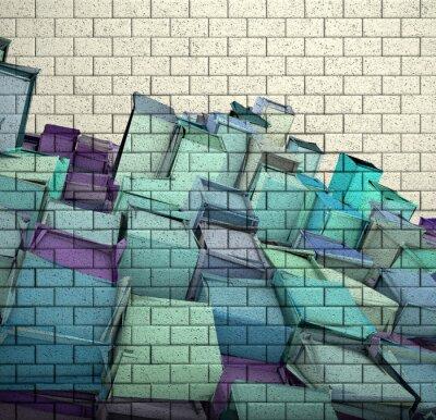 Fototapete 3d Mosaik-Fliesen Wand mit Würfel fragmentierten Muster
