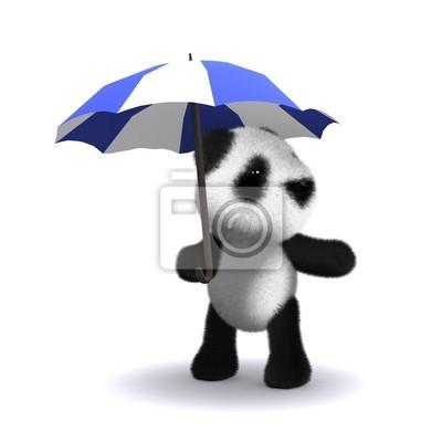 Fototapete 3d Panda unter Dach