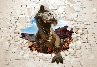 Fototapete 3d picture dinosaur in a broken wall