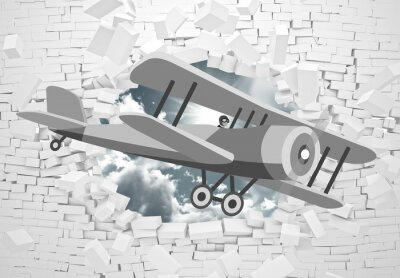 Fototapete 3d picture of a gray plane flying through a brick wall