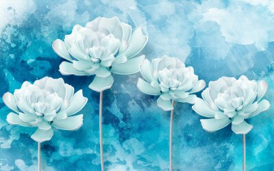 Fototapete 3d picture of blue flowers on a blue background