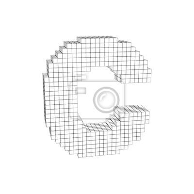 3d Pixelated Capital Letter C Vector Outline Illustration